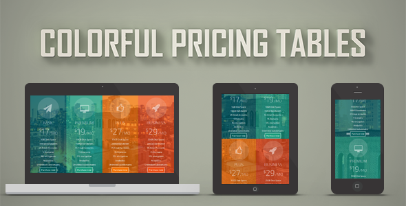 Colorful Pricing Tables