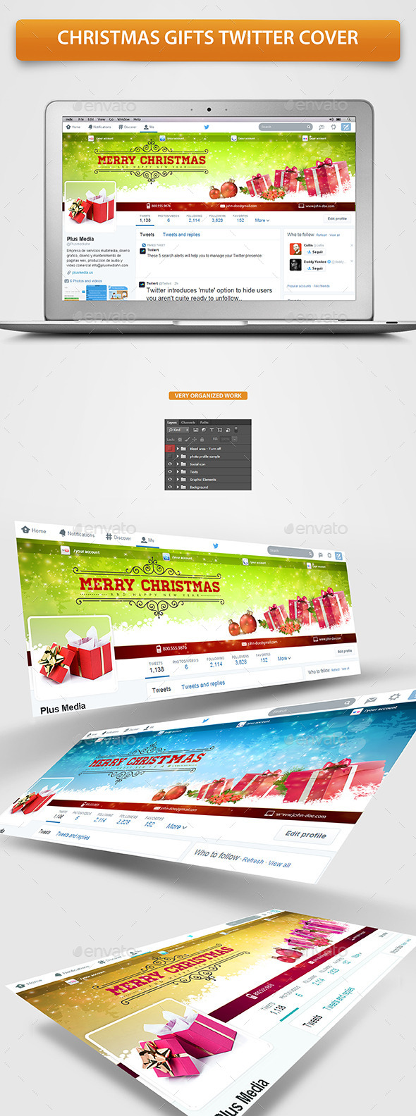 GraphicRiver Christmas Gifts Twitter Profile Cover 9626813