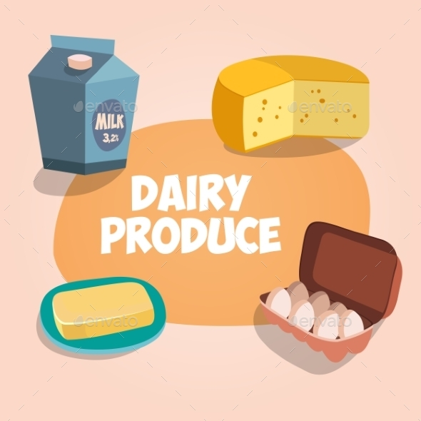GraphicRiver Dairy Produce Illustration 9658189