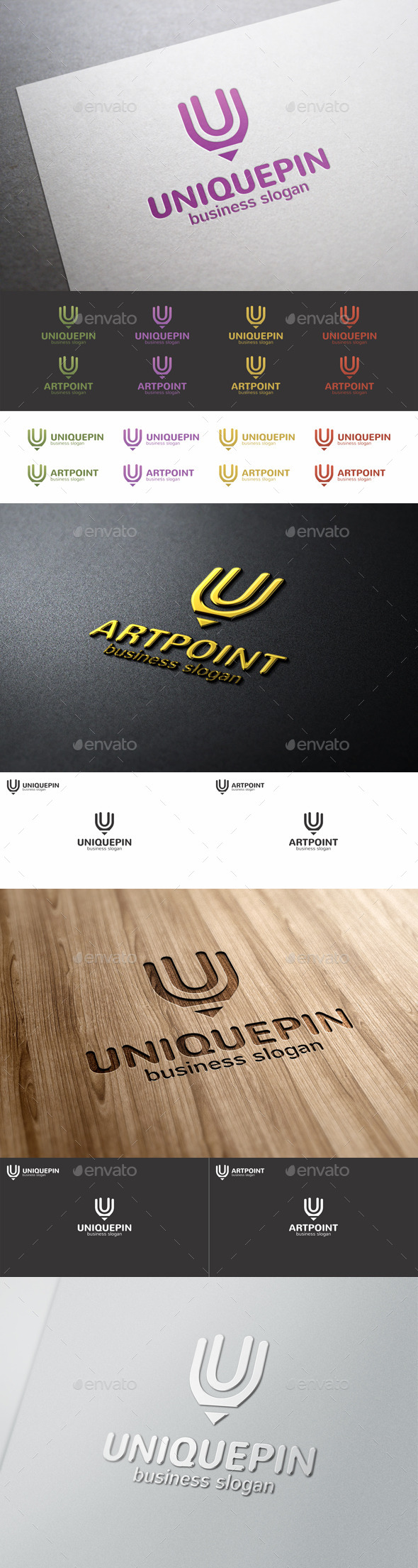 GraphicRiver Unique Pin Art Point Logo 9658269