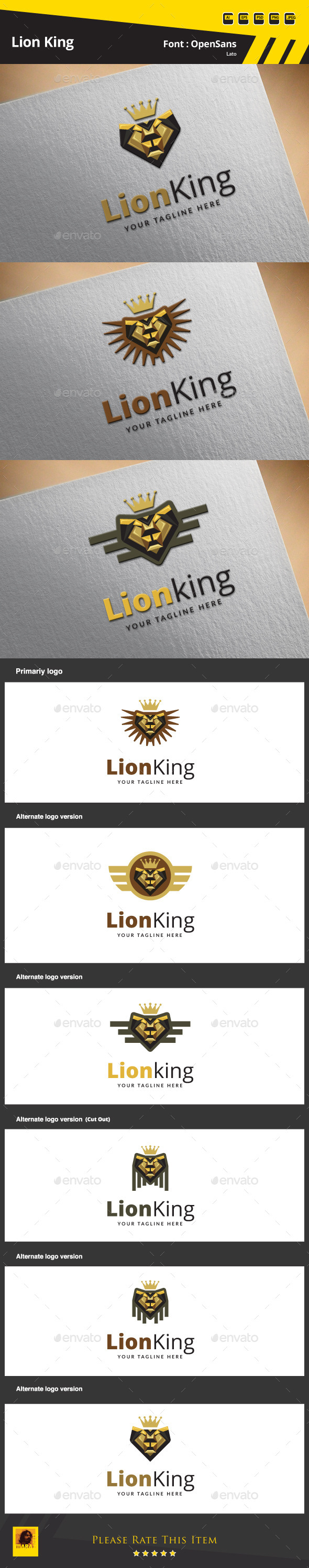 GraphicRiver Lion King Logo Template 9658280