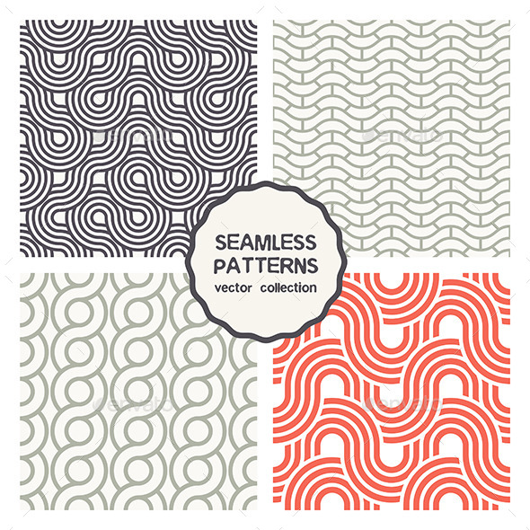 GraphicRiver Vector Set of Four Geometric Seamless Patterns 9658289