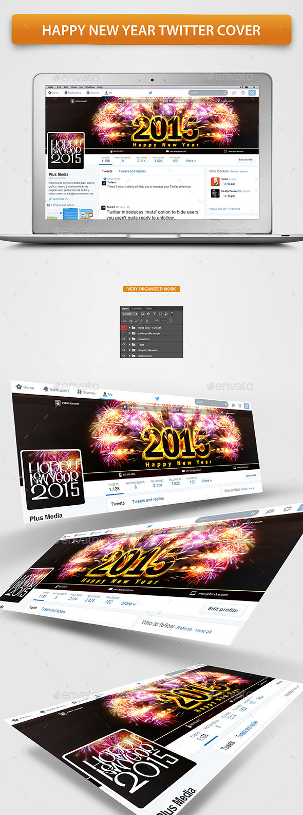 GraphicRiver Happy New Year Twitter Profile Cover 9626244