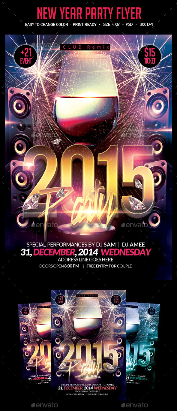 GraphicRiver New Year Party Flyer 9658333