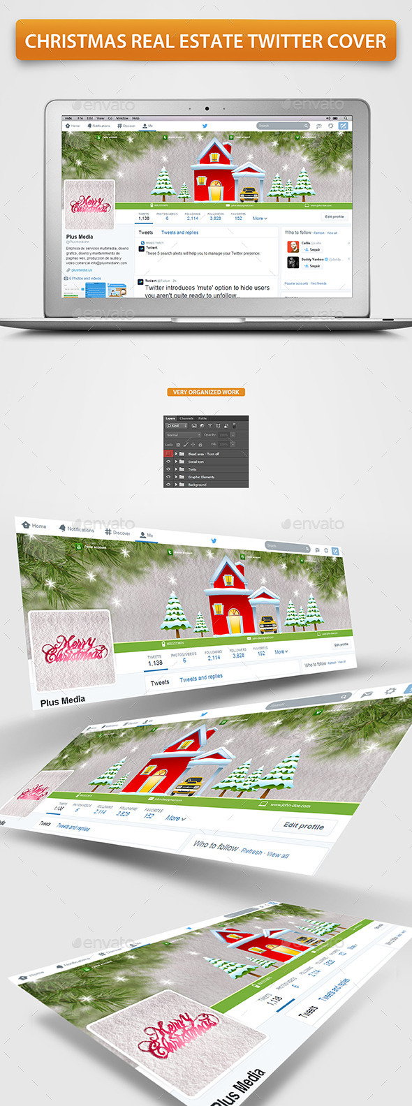 GraphicRiver Christmas Real Estate Twitter Cover 9622301