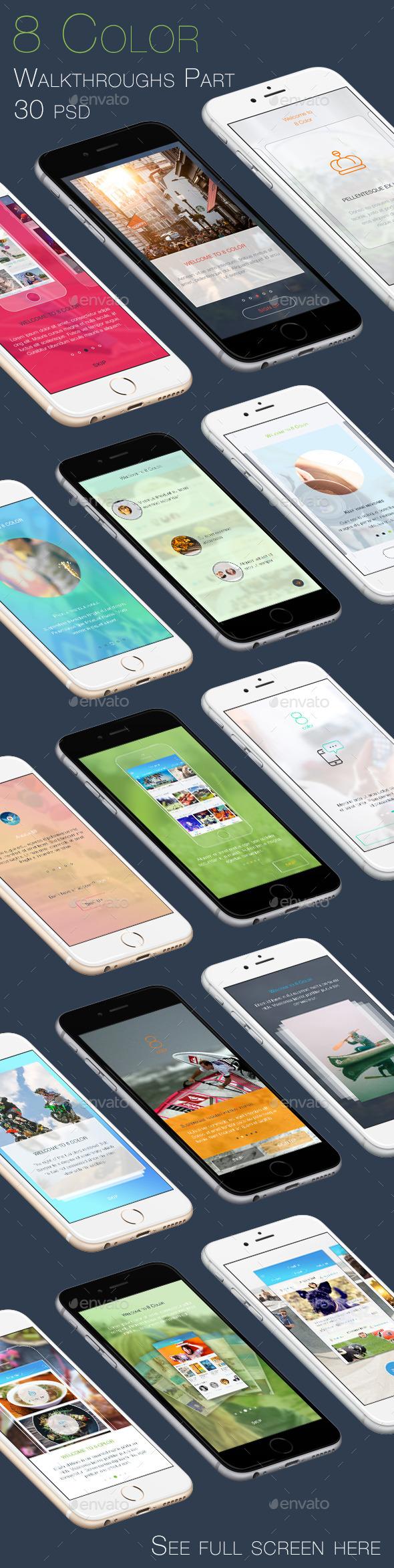 GraphicRiver 8 Color Walkthroughs Part Mobile UI Kit 9658695