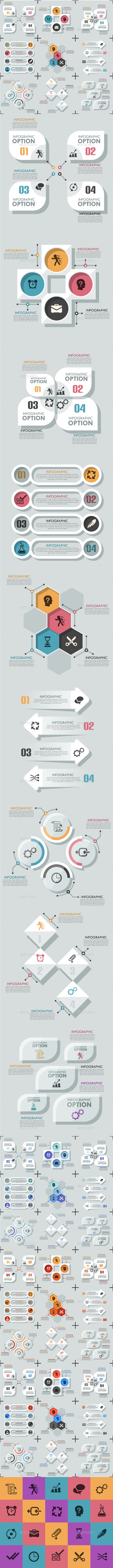 GraphicRiver Set Of 9 Flat Infographic Options Templates 9659412