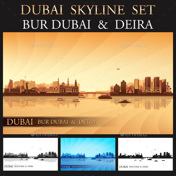GraphicRiver Dubai Deira and Bur Dubai Skyline Set 9660797