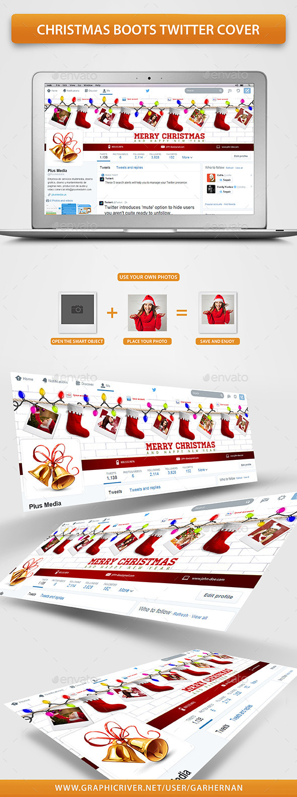 GraphicRiver Christmas Boots Twitter Cover 9626725