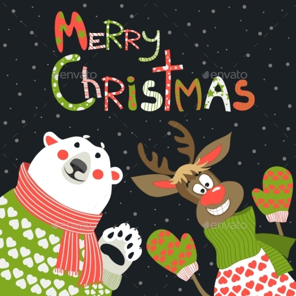 GraphicRiver Reindeer and Polar Bear Celebrating Christmas 9661525