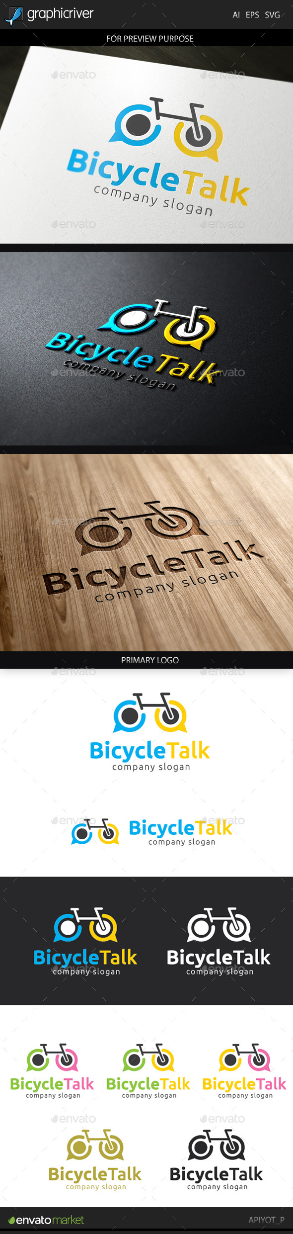 GraphicRiver Bicycle Talk Logo 9661567