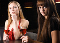 Young woman drinking red wine in bar - PhotoDune Item for Sale