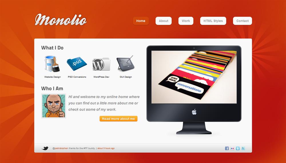 Monolio - One Page Portfolio (4 Skins) - Home Style 1