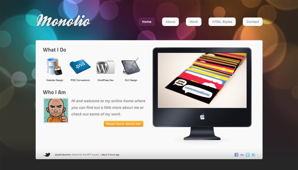 Monolio - One Page Portfolio (4 Skins) - Home Style 2