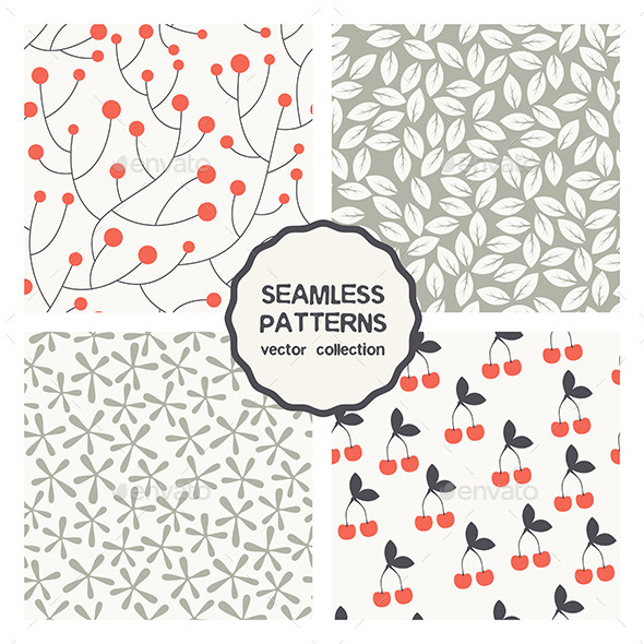 GraphicRiver Vector Set of Four Floral Seamless Patterns 9662357
