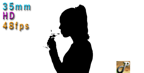 Silhouette Of Woman Drinking Martini