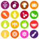 Vegetables and Fruits Vector Flat Icons - GraphicRiver Item for Sale