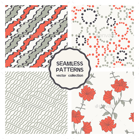 Vector Set of Four Floral Seamless Patterns