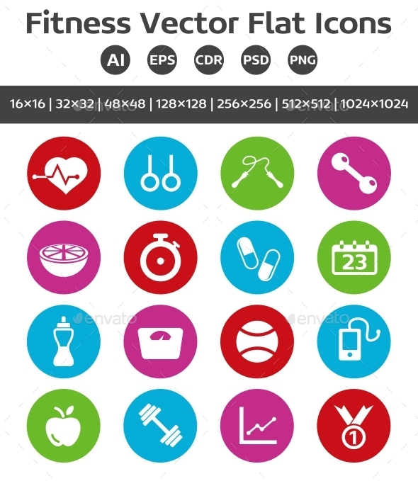 GraphicRiver Fitness Vector Flat Icons 9662385