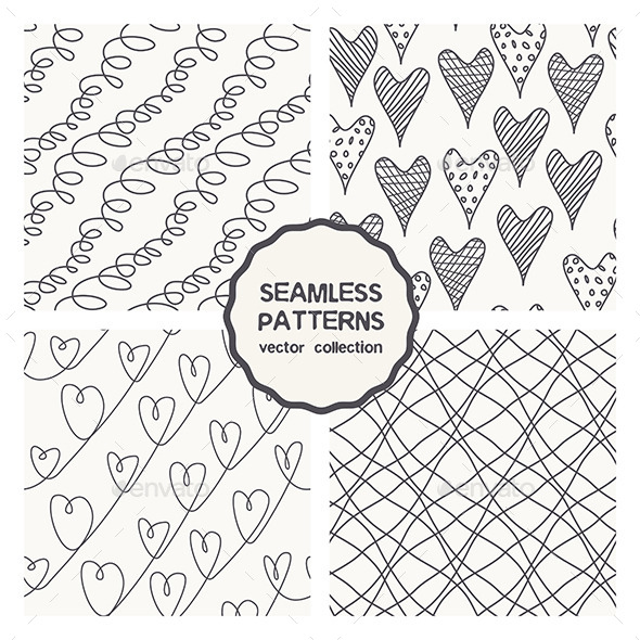 GraphicRiver Vector Set of Four Linear Doodle Seamless Patterns 9662414