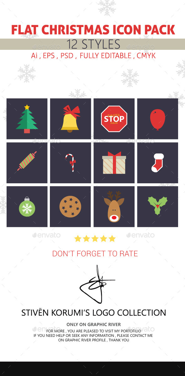 GraphicRiver Flat Christmas Icon Pack 9662479