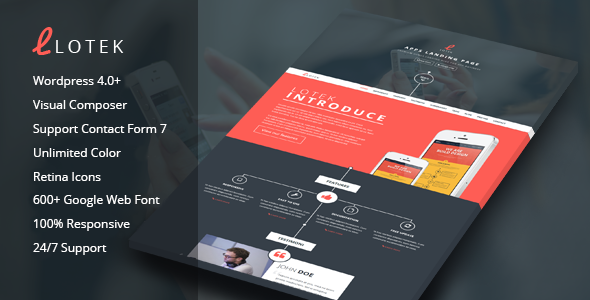 ThemeForest Lotek Modern App Landing Page Wordpress Theme 9556339