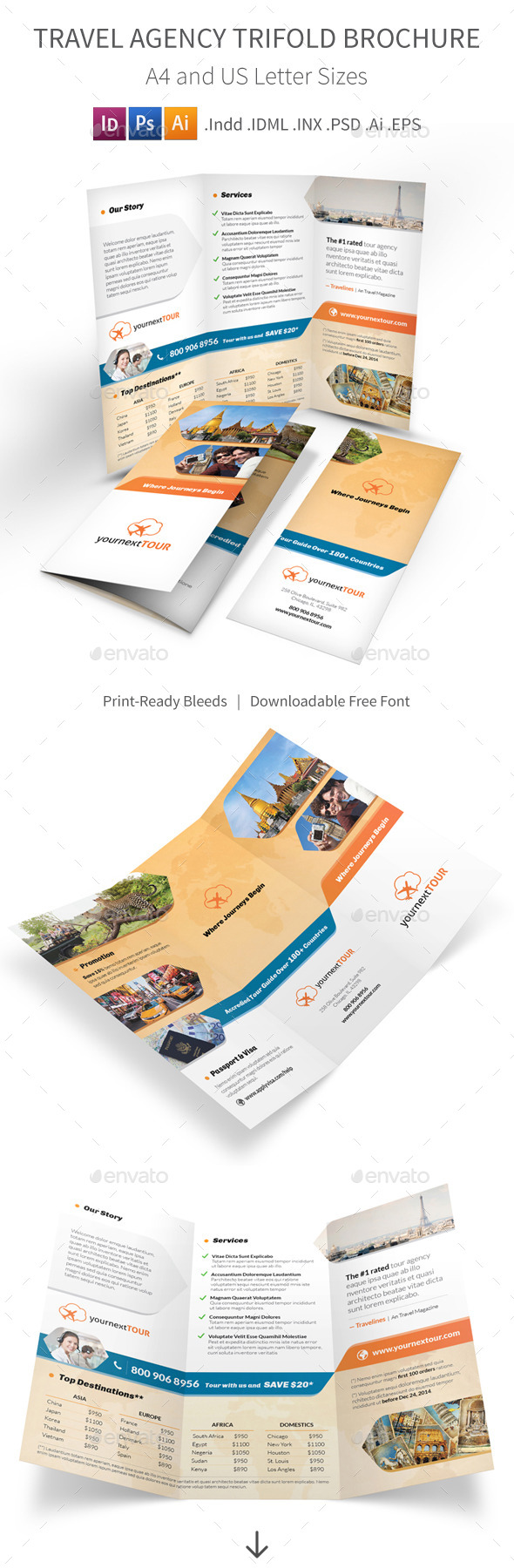 GraphicRiver Travel Agency Trifold Brochure 9662810