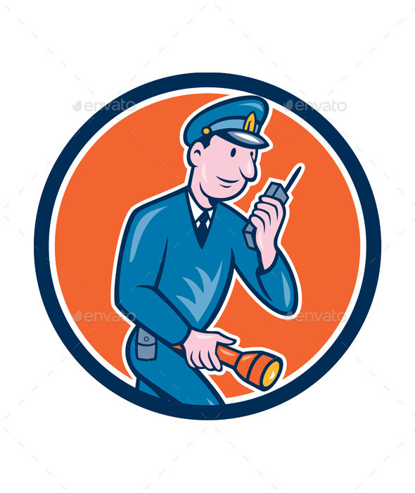 GraphicRiver Policeman with Radio and Flashlight Retro Circle 9662828