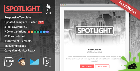 Spotlight Responsive Email Template - Newsletters Email Templates