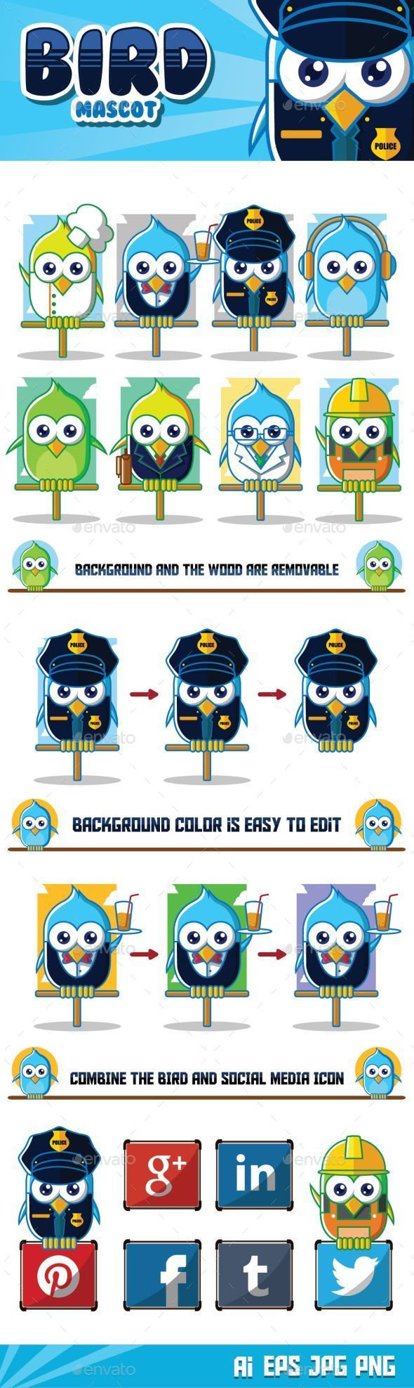 GraphicRiver Bird Mascot Character 9662959