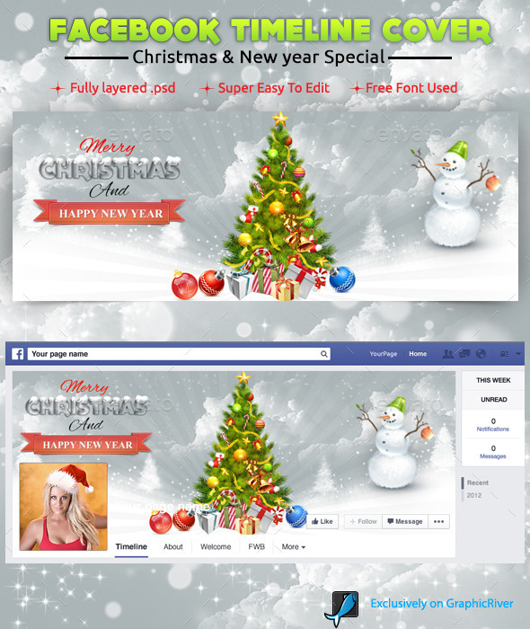GraphicRiver New Year Xmas Facebook Cover 9663099
