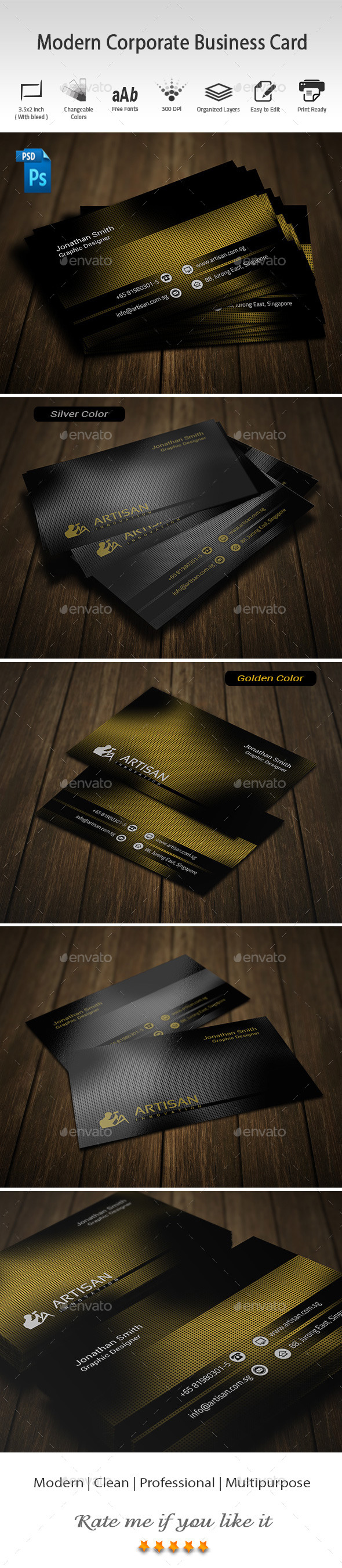 GraphicRiver Modern Corporate Business Card 9663104
