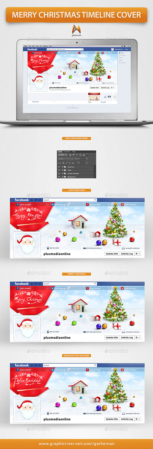 GraphicRiver Merry Christmas Facebook Timeline Cover 9663107