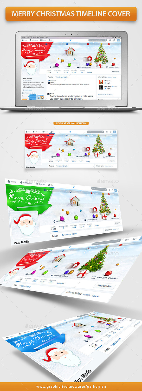 GraphicRiver Merry Christmas Twitter Profile Cover 9663116