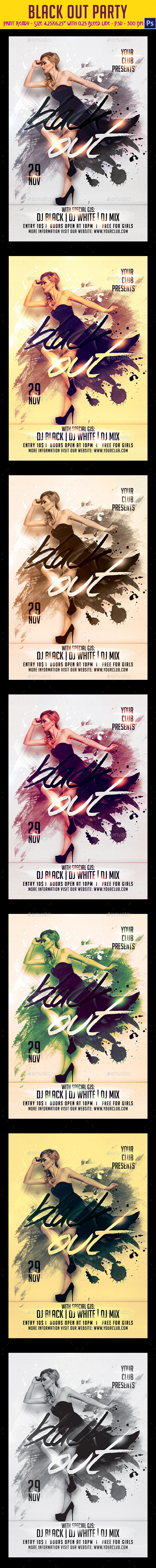 GraphicRiver Black Out Party Flyer 9663237