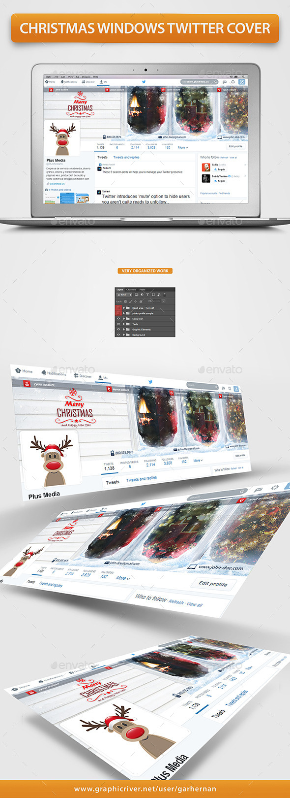 GraphicRiver Christmas Windows Twitter Profile Cover 9663247