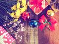 x-mas present box on the wood desk vintage color - PhotoDune Item for Sale
