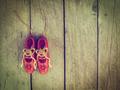 vintage toy red shoes on the blue background vintage color - PhotoDune Item for Sale