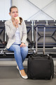 Businesswoman Having Coffee At Airport Lobby - PhotoDune Item for Sale