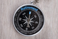 Compass On Table Indicating Retirement Word - PhotoDune Item for Sale