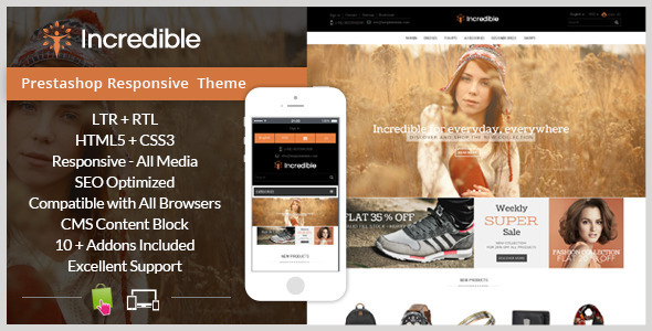 ThemeForest Incredible Prestashop Responsive Theme 9663855