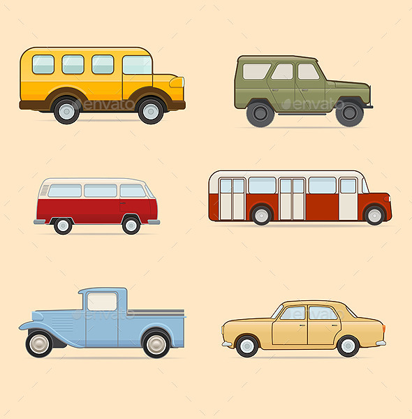 GraphicRiver Retro Transport Set 9664059