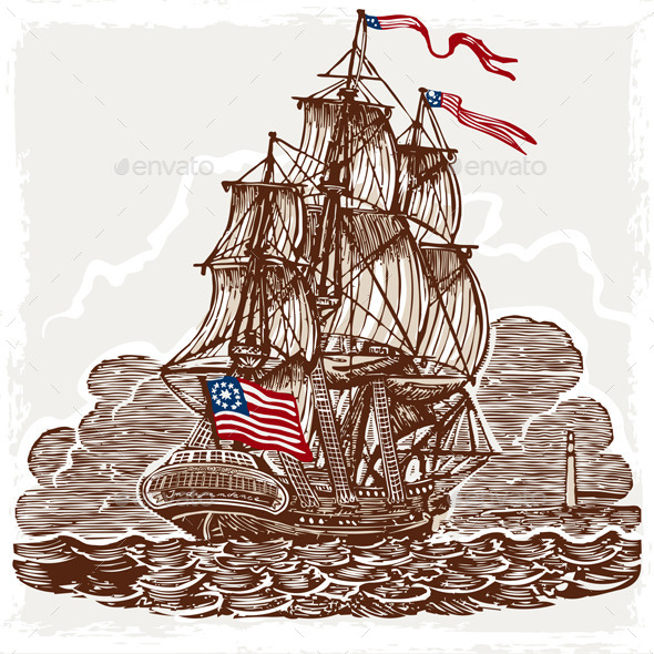 GraphicRiver Vintage Page with American Vessel on Seas 9664066