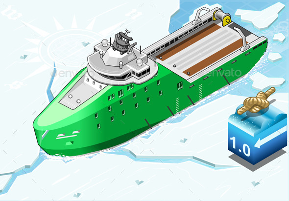 GraphicRiver Isometric Icebreaker Ship Breaking in Front View 9664430