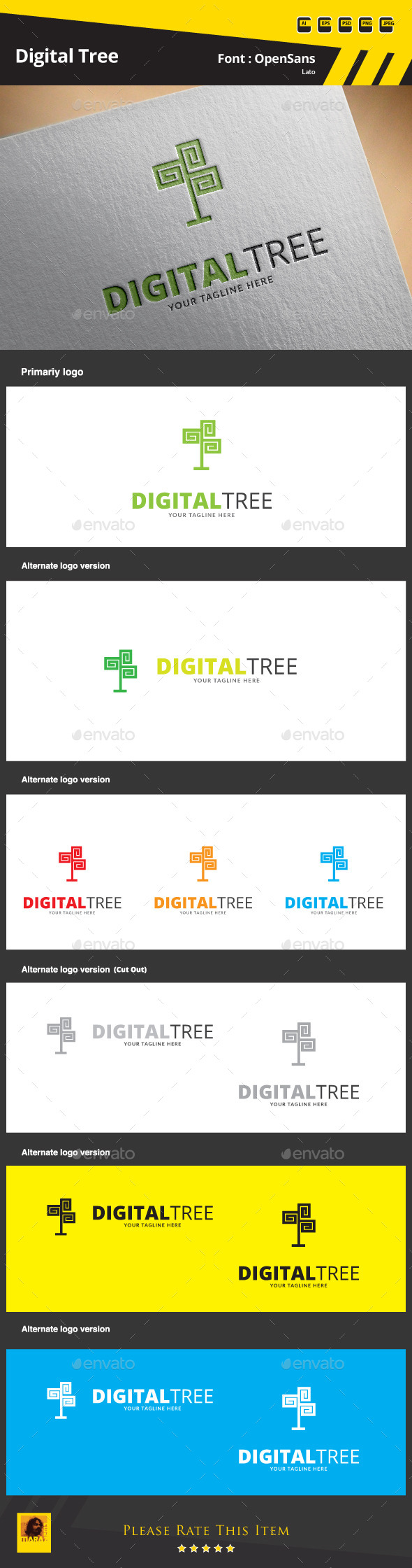 GraphicRiver Digital Tree Logo Template 9664540