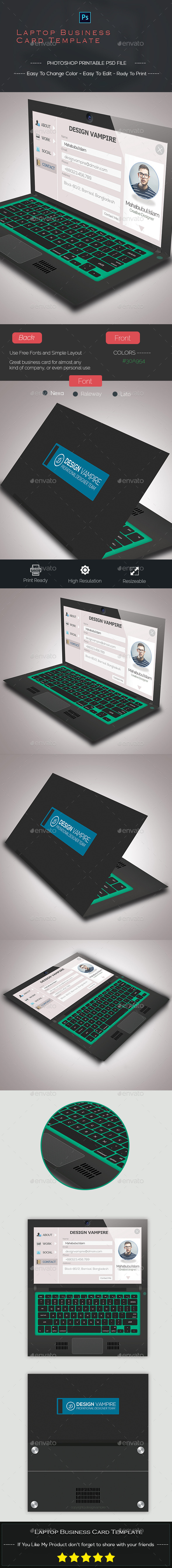 GraphicRiver Laptop Business Card Template 9589637