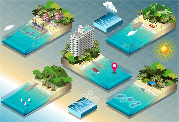 GraphicRiver Isometric Tiles of Carribean Holidays 9664669