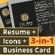 3-in-1 Deal: Resume Template + Icons + Business Card, Modern Watch Style Template - GraphicRiver Item for Sale