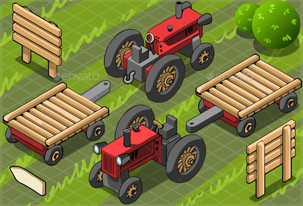 GraphicRiver Isometric Red Farm Tractor in Two Positions 9664729