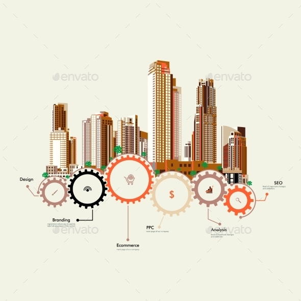 GraphicRiver Skyscrapers Stand on Gears 9664954